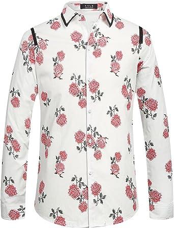 SSLR Camisa Slim Fit Hombre Manga Larga Doble Cuello de Flores