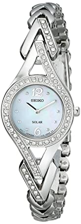 front facing Seiko Women's Silvertone Crystal Solar Watch