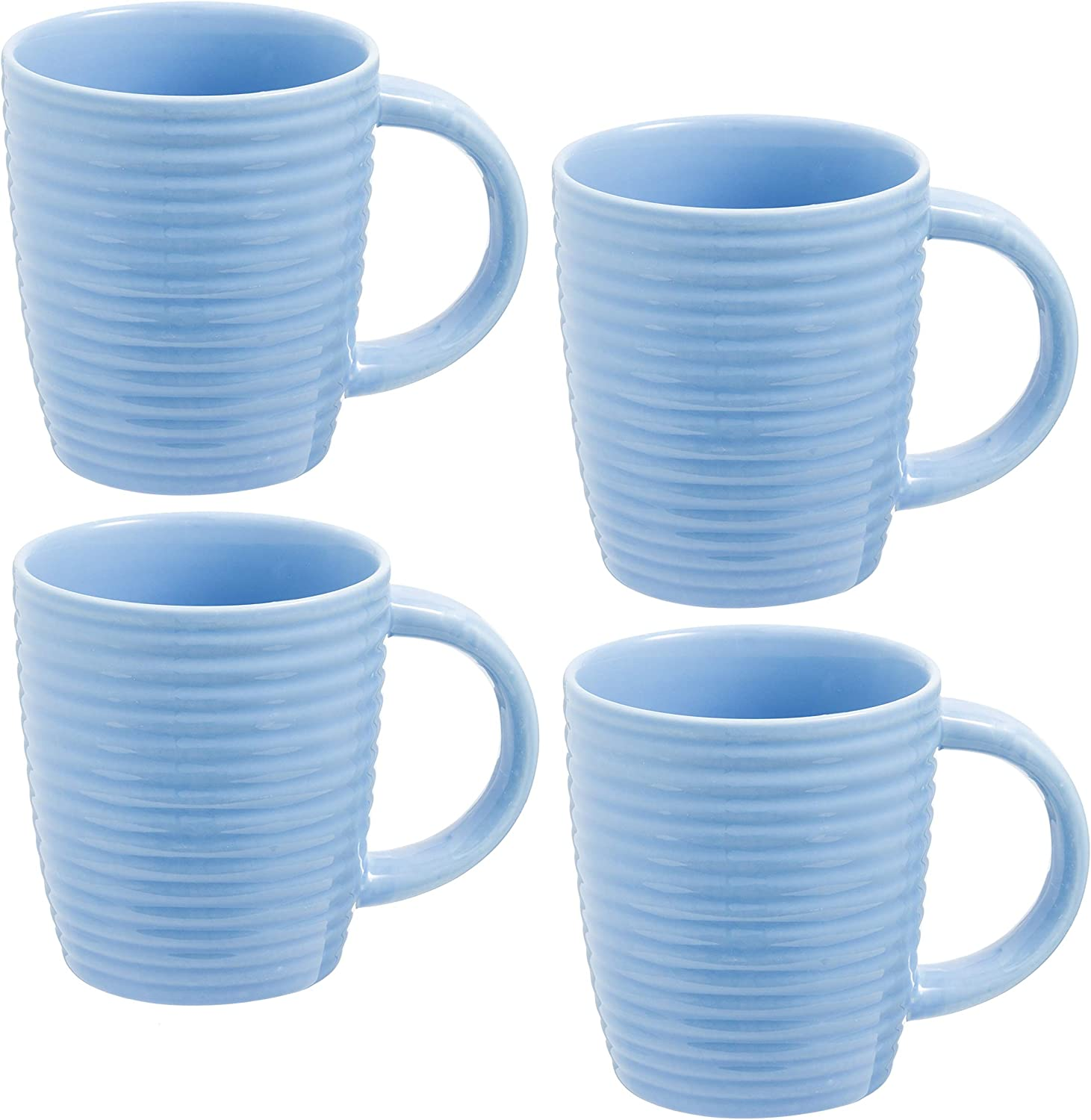 Large Coffee Mugs Set of 4 | 14 Ounce Porcelain Cups with Strong Handles for Tea, Hot Cocoa | Microwave and Dishwasher Safe | Diner Style Perfect for Any Home or Gift | Blue