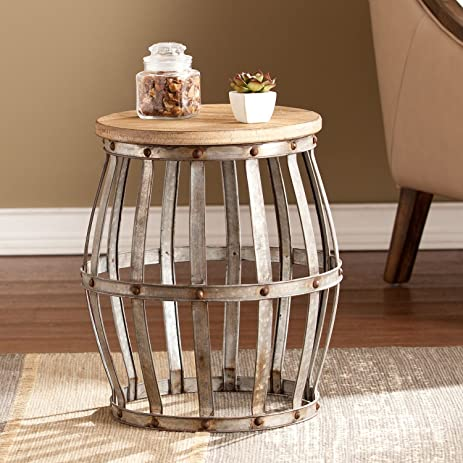 End Table Tucker Features Wine Barrel Shape, Galvanized Metal Appeal And  Drum Style Table