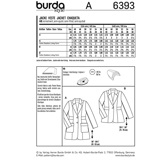 Amazon.com: Burda Style Sewing Pattern B6393 - Womens Blazers, A(20-22-24-26-28-30): Arts, Crafts & Sewing