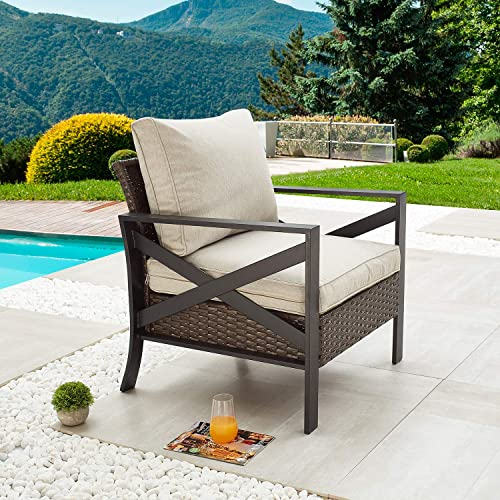Festival Depot Dining Outdoor Patio Bistro Furniture Armchairs Wicker Rattan Premium Fabric Comfort Soft 3.1 Cushions with Side X Shaped Slatted Steel Frame Leg for Garden Yard Poolside All-Weather
