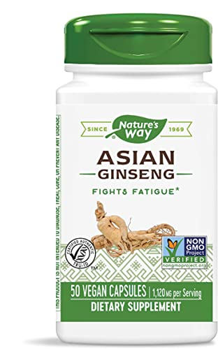 Nature s Way Premium Herbal Asian Ginseng, 1,120 mg per serving, 50 Capsules Packaging May Vary