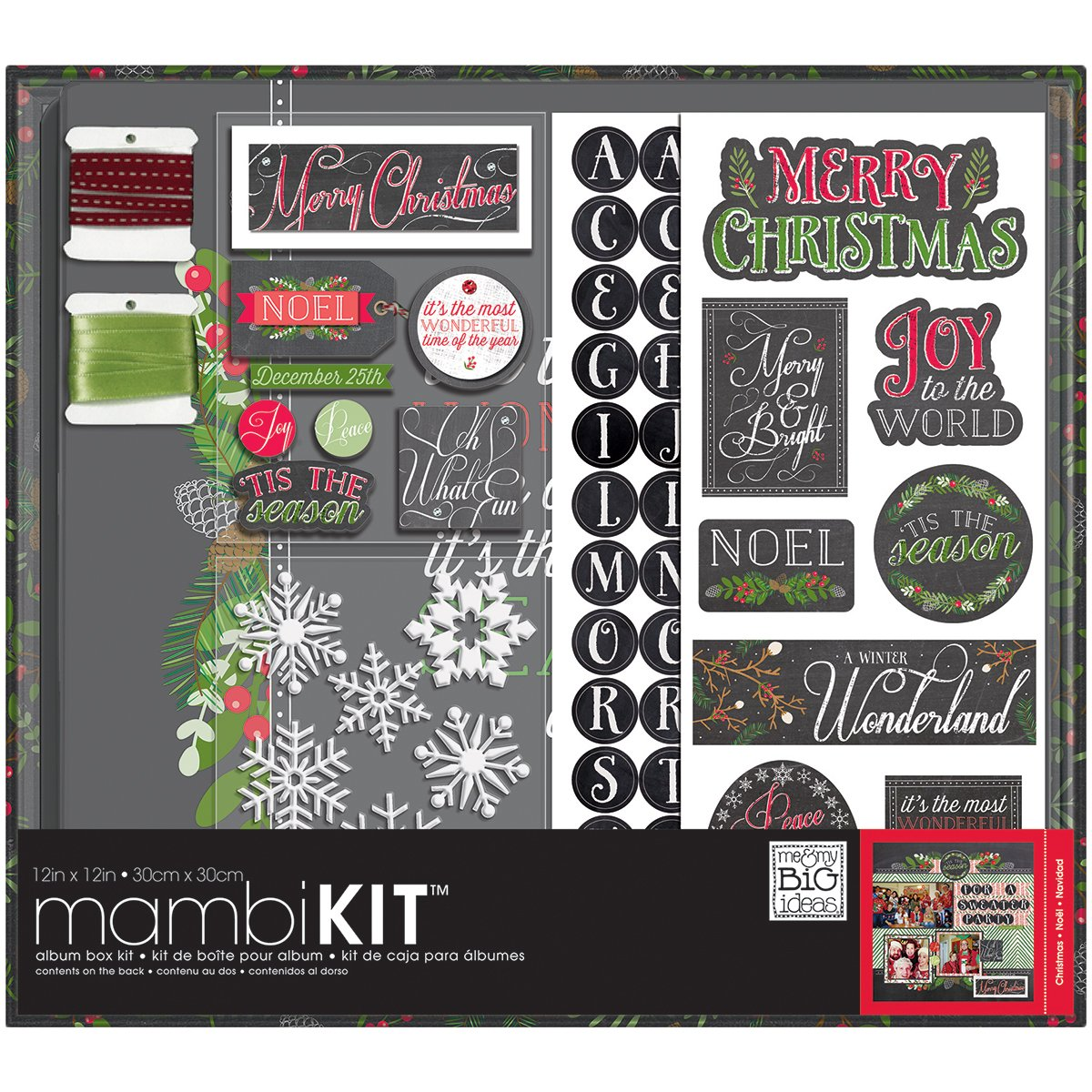 me & my BIG ideas Merry Christmas Chalk Album Box Kit, 12-Inch by 12-Inch