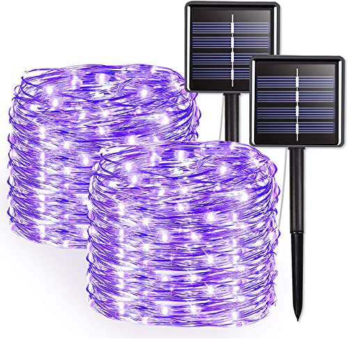 JMEXSUSS Purple Halloween String Lights, Solar String Lights Outdoor Waterproof, 2 Pack 32.8ft 100 LED Solar Fairy Lights, 8 Modes Solar Powered Copper Wire Fairy Lights for Halloween Decorative