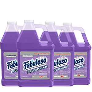 FABULOSO Professional All Purpose Cleaner & Degreaser, Lavender, Concentrated Formula, Bathroom Cleaner, Toilet Cleaner, Floor Cleaner, Shower Cleaner, Glass Cleaner 1 Gallon, 128oz,Pack of 4 US05253A