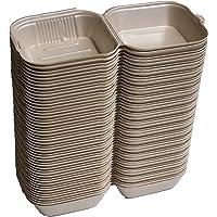 GONOG4 – Contenedor para alimentos desechable 100% biodegradable 50 piezas 15.3x15.3 CM