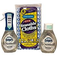 Dawn Powerwash Free & Clear Bundle: 1 botella de inicio (16 onzas) + 1 botella de recambio (16 onzas) + 8 paños…