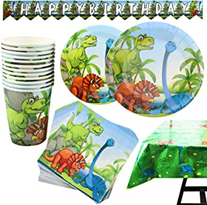 102 Piece Dinosaur Party Supplies Set Including Plates, Cups, Napkins, Tablecloth and Banner, Serves 25