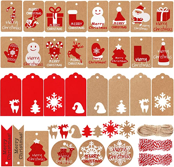 Coopay 150 Pieces Christmas Kraft Tags Kraft Paper Gift Hang Labels Christmas Trees Snowflake Deer Shape Christmas Decoration with 30 Meters Red-and-White Twine for Craft DIY Arts and Christmas Favor