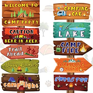 20 Pieces Camping Party Sign Camping Party Themed Directional Signs Camper Sign Camping Cutouts Welcome Yard Outdoor Wall Sign Party Supplies Photo Props Backdrop Decoration Party Decor