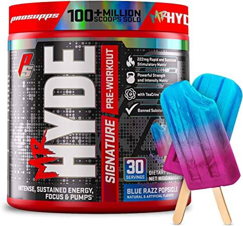 ProSupps Mr. Hyde Signature Pre Workout with Creatine, Beta Alanine, TeaCrine and Caffeine for Sustained Energy, Focus and Pumps - Pre-Workout Energy Drink for Men and Women (Blue Razz, 30 Servings)