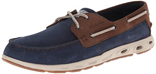 Columbia PFG Mens Bonehead Vent Leather PFG Boat Shoe, Collegiate Navy, Stone, 7.5