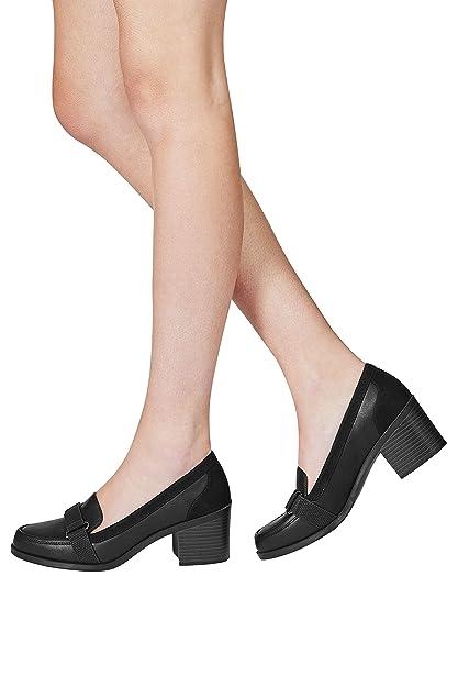 next Mujer Zapatos Zapatillas Mocasines Adorno De Cinta Con Tacón Ancho Casuales: Amazon.es: Zapatos y complementos