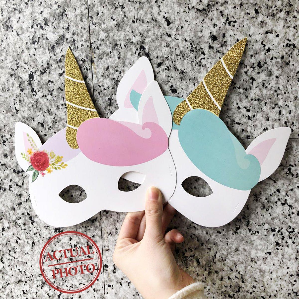 NICROLANDEE 12pcs Unicorn Party Decoration Kids Paper Mask Birthday Halloween by NICROLANDEE (Image #7)