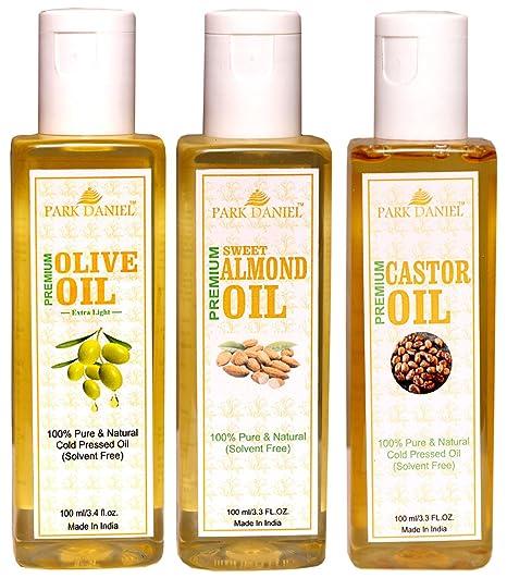 1783da30215 Buy Park Daniel Castor Oil, Olive Oil and Almond Oil set of 3-100 ML (300  ML) Online at Low Prices in India - Amazon.in