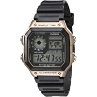 Casio Men's 10-Year Battery Japanese Quartz Watch with Resin Strap, Black, 21 (Model: AE-1200WH-5AVCF)
