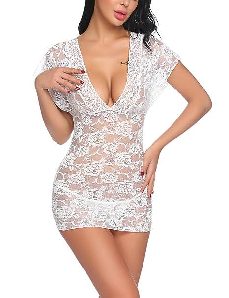 24fcab5085260 Oheetu Women Lingerie V-Neck Nightwear Lace Babyoll Chemise Sleepwear  Outfits White Small