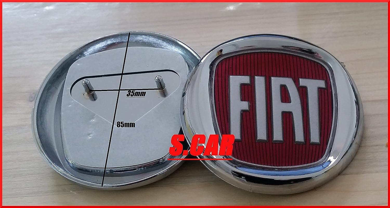 Fiat - Logo con escudo, insignia, rojo, de 85 mm, trasero de 85mm FAMAC