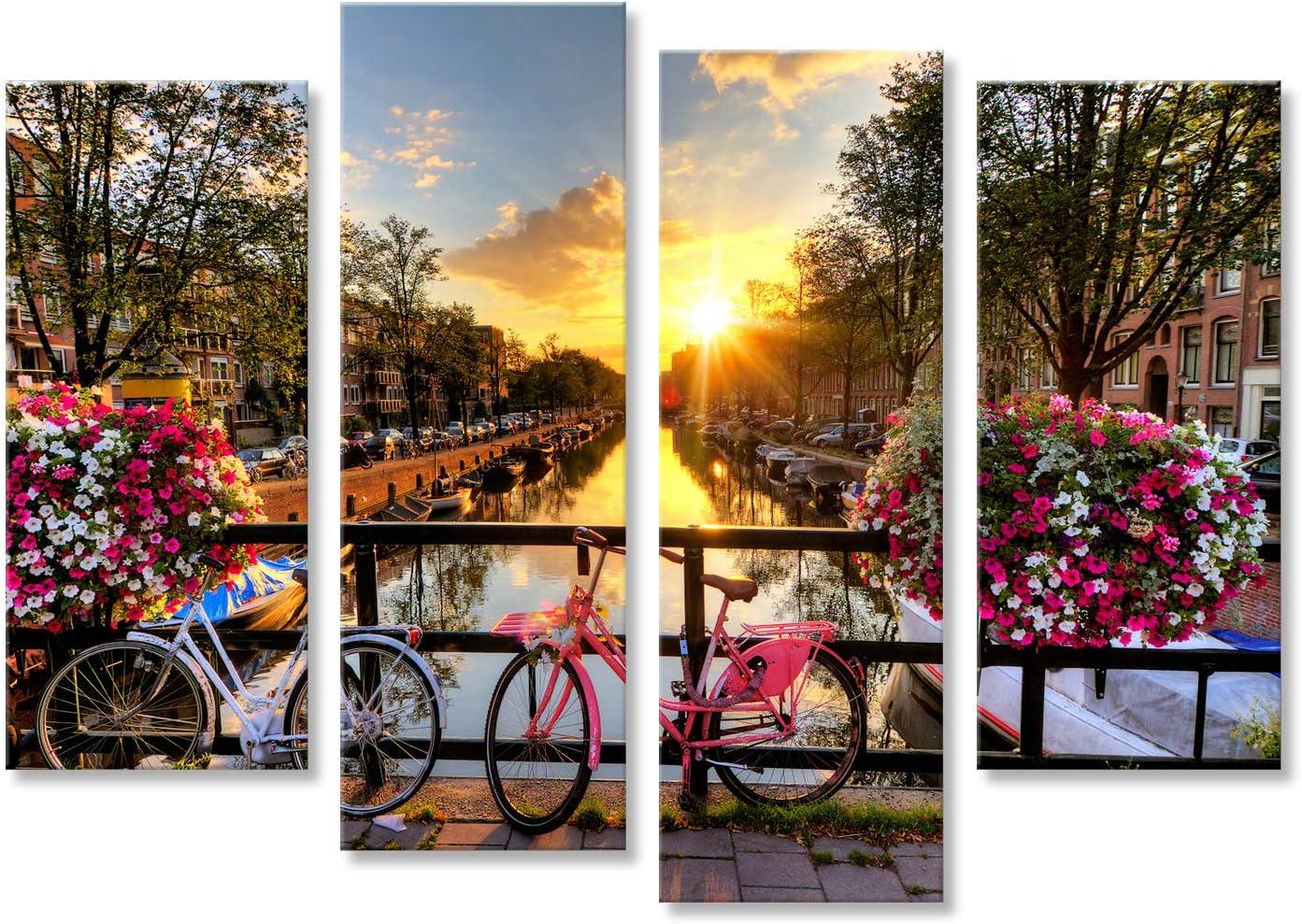 islandburner Quadro Moderno Canali di Amsterdam Fiori Stampa su Tela Fotografica Formato XXL Quadro x poltrone Salotto Cucina mobili Ufficio casa