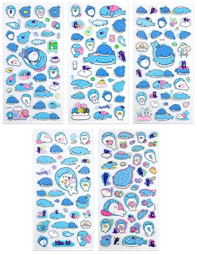 982b5caef862f2 SET056-WHALE SHARK2 - 5 Different Sheets Lovely Whale Shark Cartoon  Reusable Puffy Stickers Size