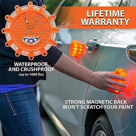 Neu LED Warnleuchten Warnlicht mit Magnet Rundum-Warnblinkleuchte Sicherheitsfackel-Kit f/ür Auto 9 Leuchtmodi,Wasserdicht Kabellos Antikollisions Sicherheitswarnleuchten Auto Ein//Aus