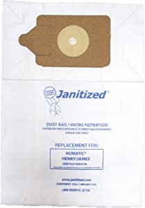 Janitized JAN-NVM1C-2(10) Premium Replacement Commercial Vac Bag, Nacecare/Numatic Henry/James Model 200, 225, 235, 250, 252 and 260, RSV130/200, OEM#604100 (Pack of 10)