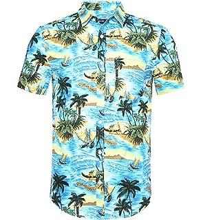 45f7e67c9818f SSLR Camisa Hawaiiana Hombre Casual Estampado de Flamingos y Flores ...