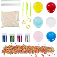 TopTops DIY Fluffy Slime Kit 6 Pack Crystal Clear Slime Making Kit with Colorful Foam Balls