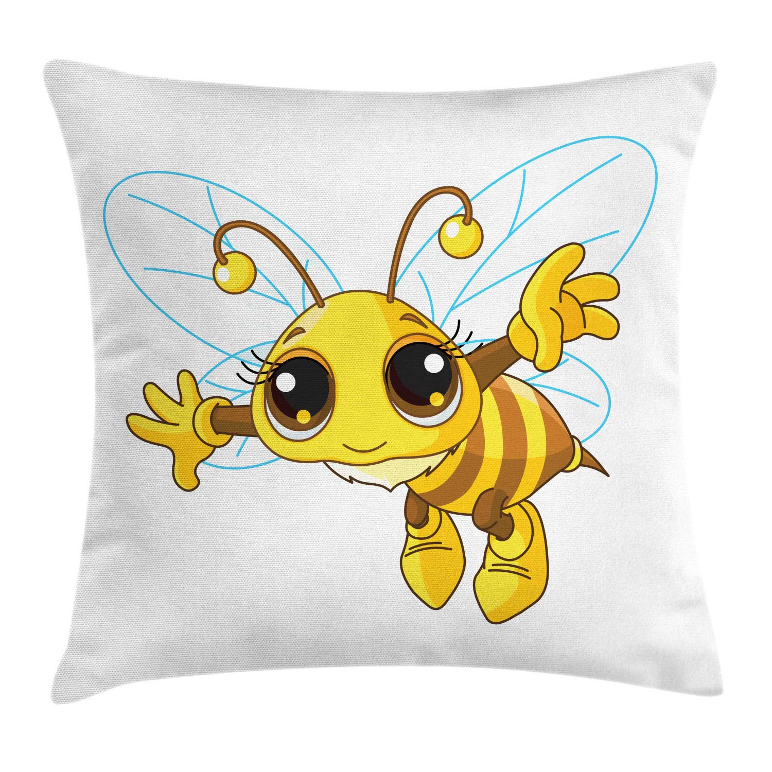 Lunarable Honey Bee Throw Pillow Cushion Cover, Insect with Eyes and Outline Wings Nursery Cartoon, Decorative Square Accent Pillow Case, 26'' X 26'', Mustard Ginger Black and Sky Blue