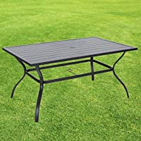 Vicllax Outdoor Dining Table- Patio Table with Umbrella Hole
