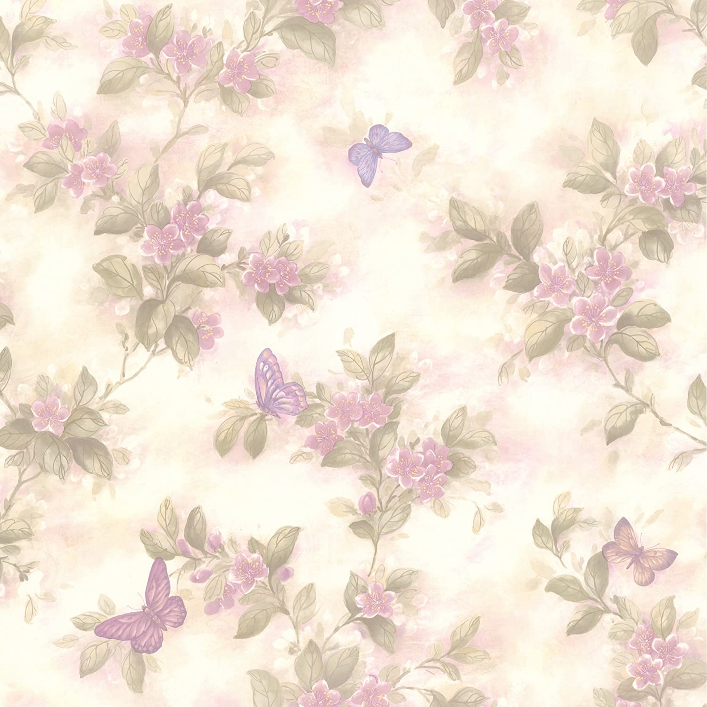 Brewster 436 65762 Lisa Lavender Butterfly Floral Wallpaper