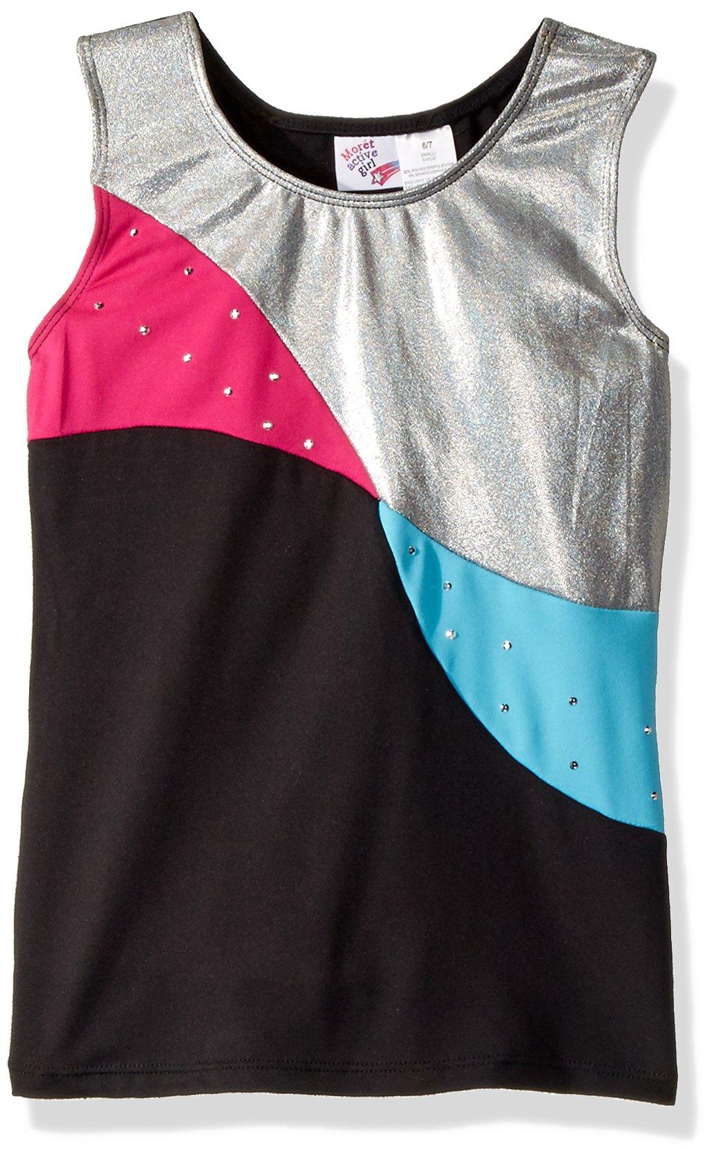 Jacques Moret Big Girls' Gymanstics Tank Top, Shiny Gymnastics Color Block, M