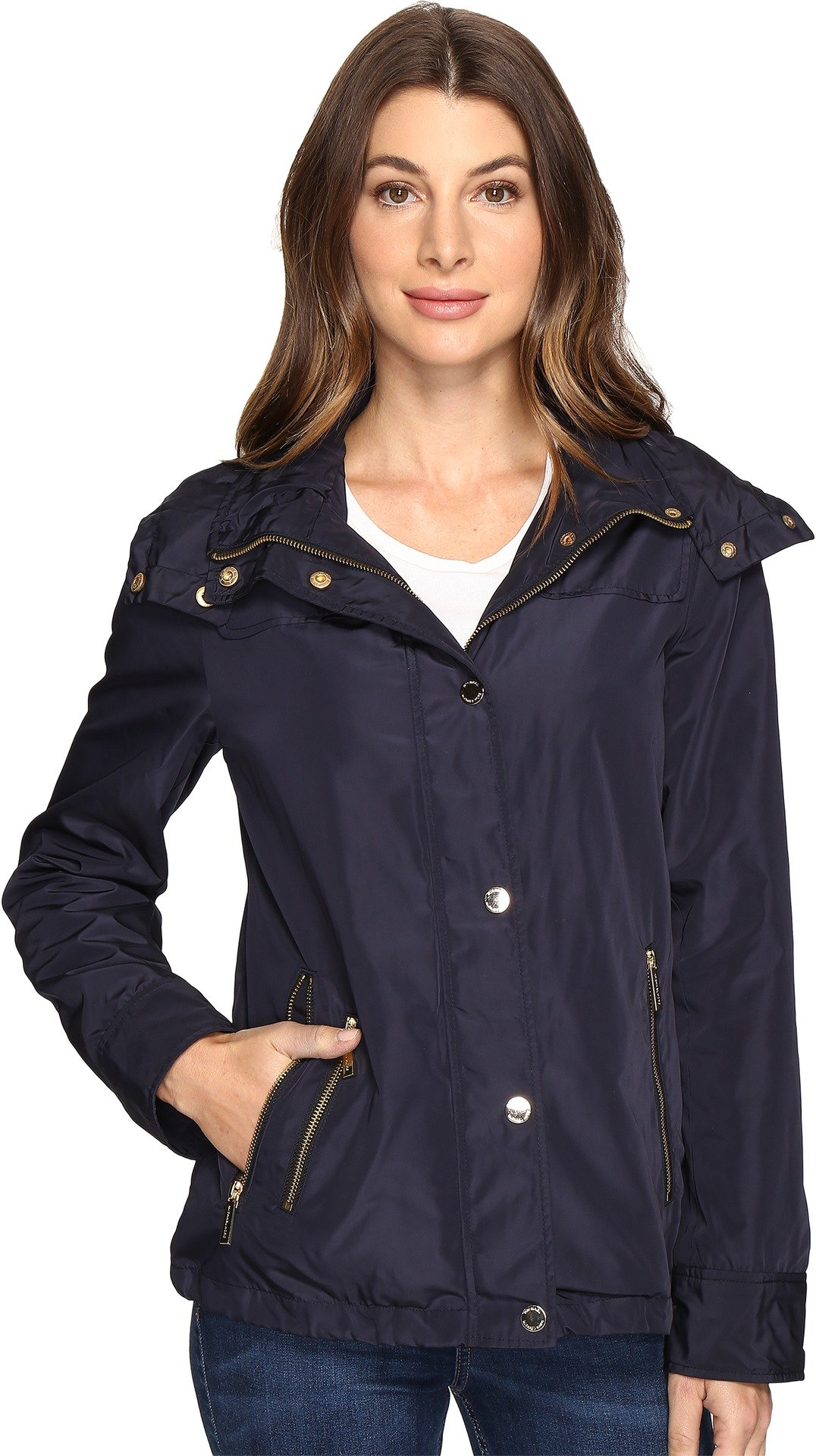 MICHAEL Michael Kors Womens Hooded Snap Front Jacket M322087R Navy SM One Size by MICHAEL Michael Kors