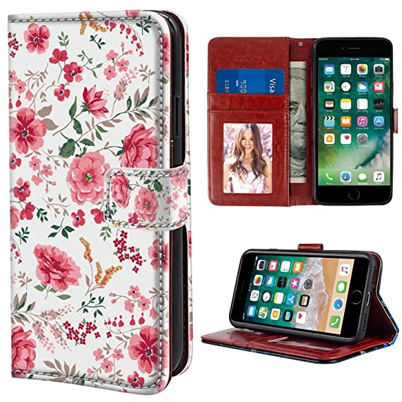 cheap for discount a7713 060ee Amazon.com: YaoLang iPhone 6/6S Wallet Case, Pink Floral Flower PU ...