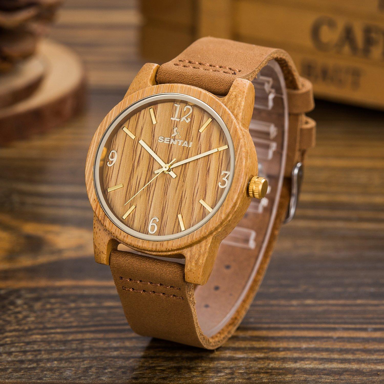 Amazoncom Sentai Natural Wood Watch Genuine Leather