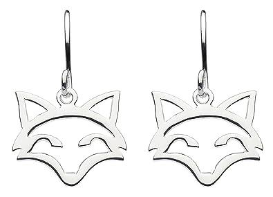 1544b9e05 Dew Sterling Silver Fox Head Outline Drop Earrings 6033HP: Amazon.co.uk:  Jewellery
