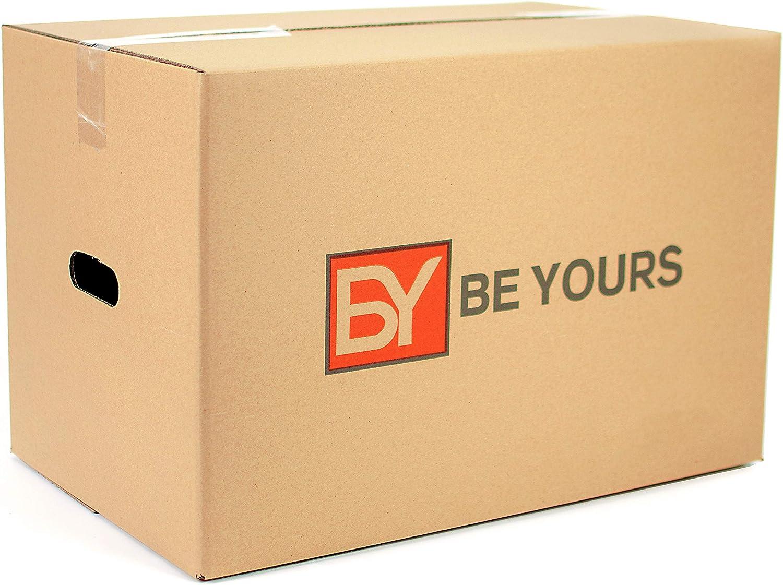 BEYOURS Pack de 20 Cajas Carton Mudanza con asas - 430x300x250 mm - Cajas Mudanza Ultraresistentes - Cajas Almacenaje Fabricadas en España