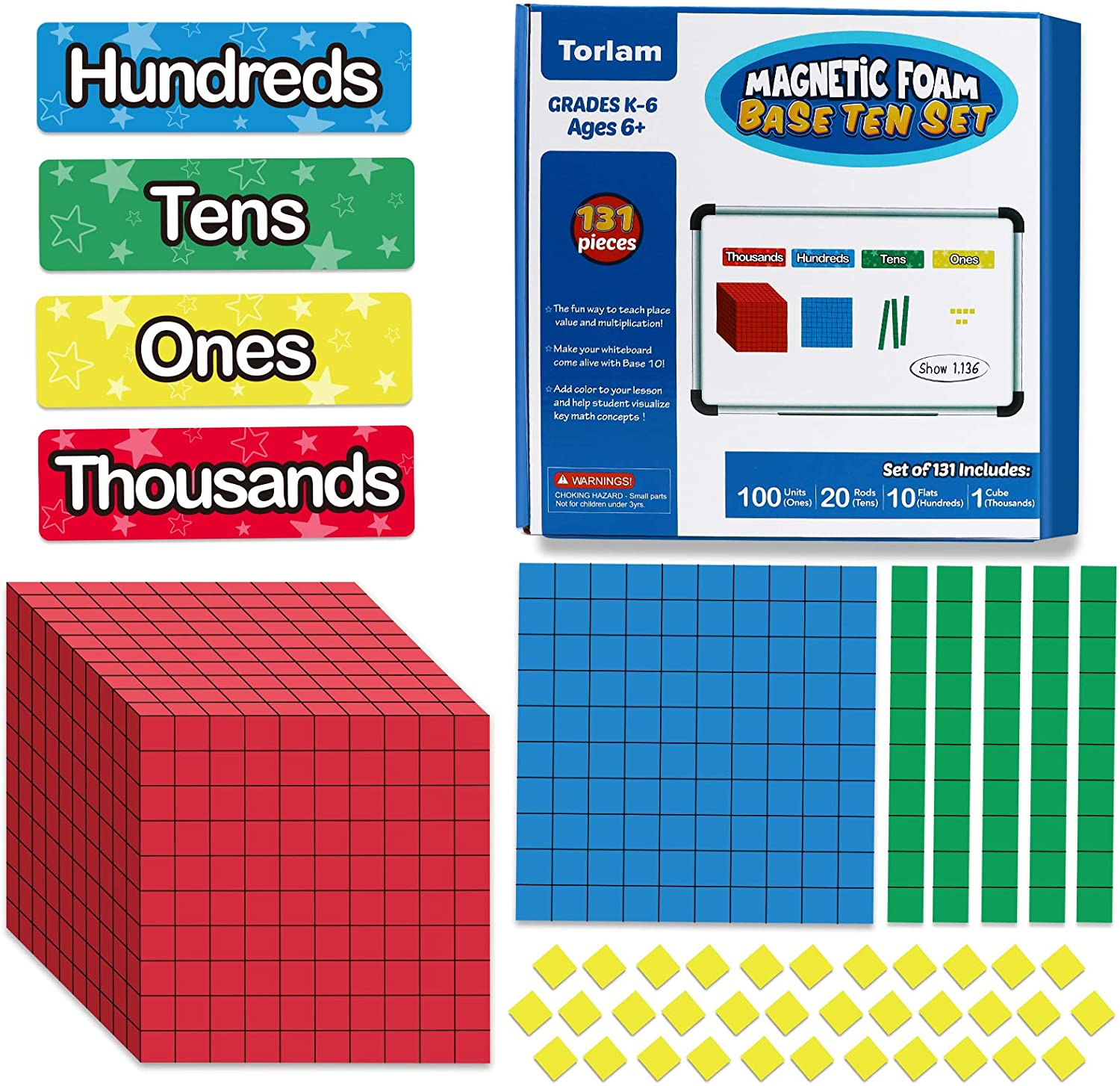 Torlam 135 PCS Magnetic Base Ten Blocks - Place Value Blocks -Math Manipulatives K-3 for Elementary Classroom, Number Blocks, Math Counters, Counting Cubes for Kids Math, Base 10 for 1st 2nd 3rd Grade