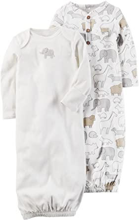 3aff5368d Amazon.com  Carter s Baby 2-Pack Sleeper Gowns with Elephant Print ...
