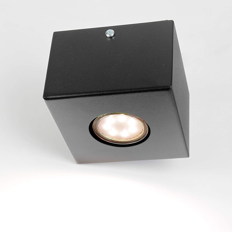 Lampe Spot voitureré Noir GU10 intemporel 12 cmx12 cm t8,5 cm moderne Plafonnier Spot couloir