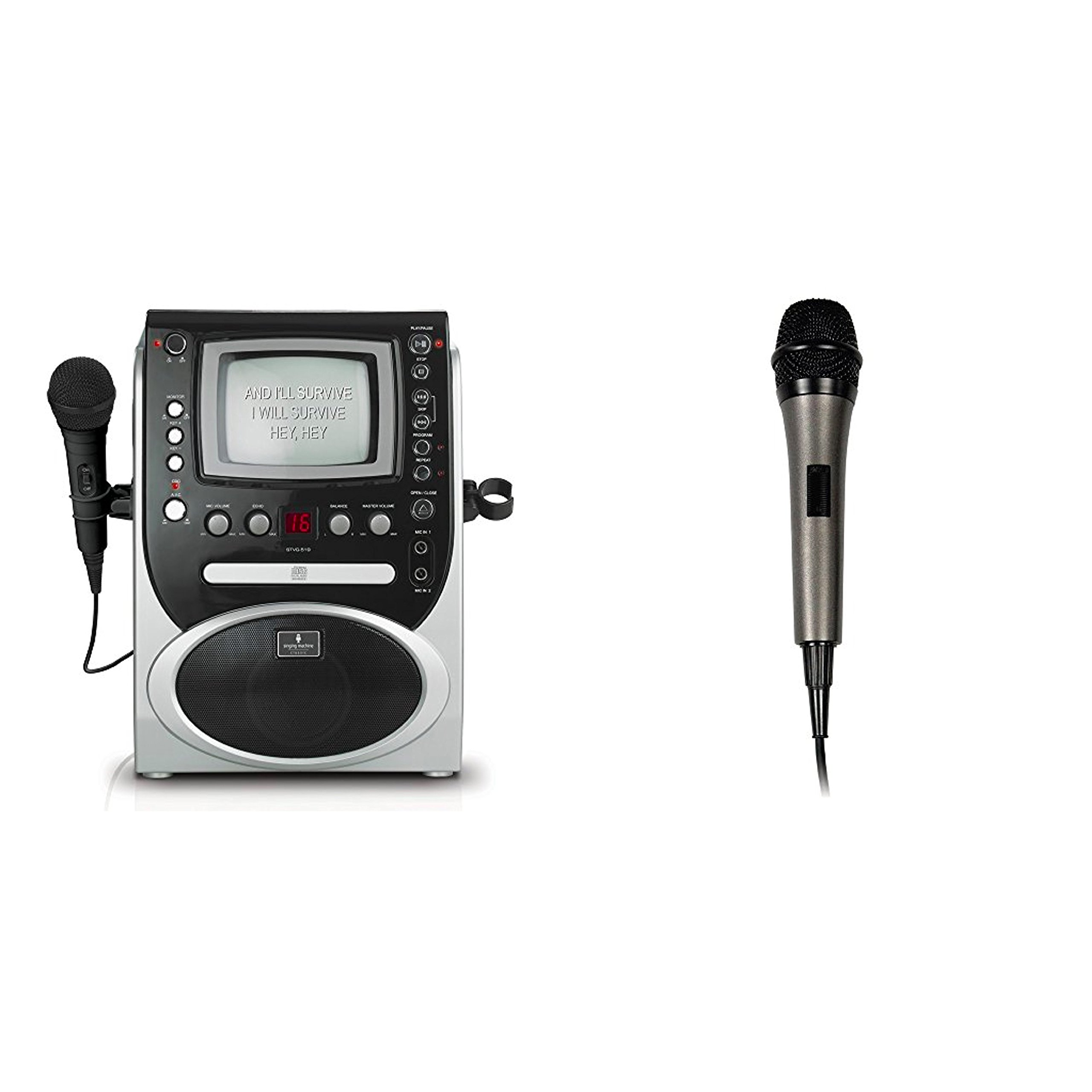 Bundle Includes 2 Items - Singing Machine STVG-519 CDG Karaoke Player and Singing Machine SMM-205 Unidirectional Dynamic Microphone with 10 Ft. Cord