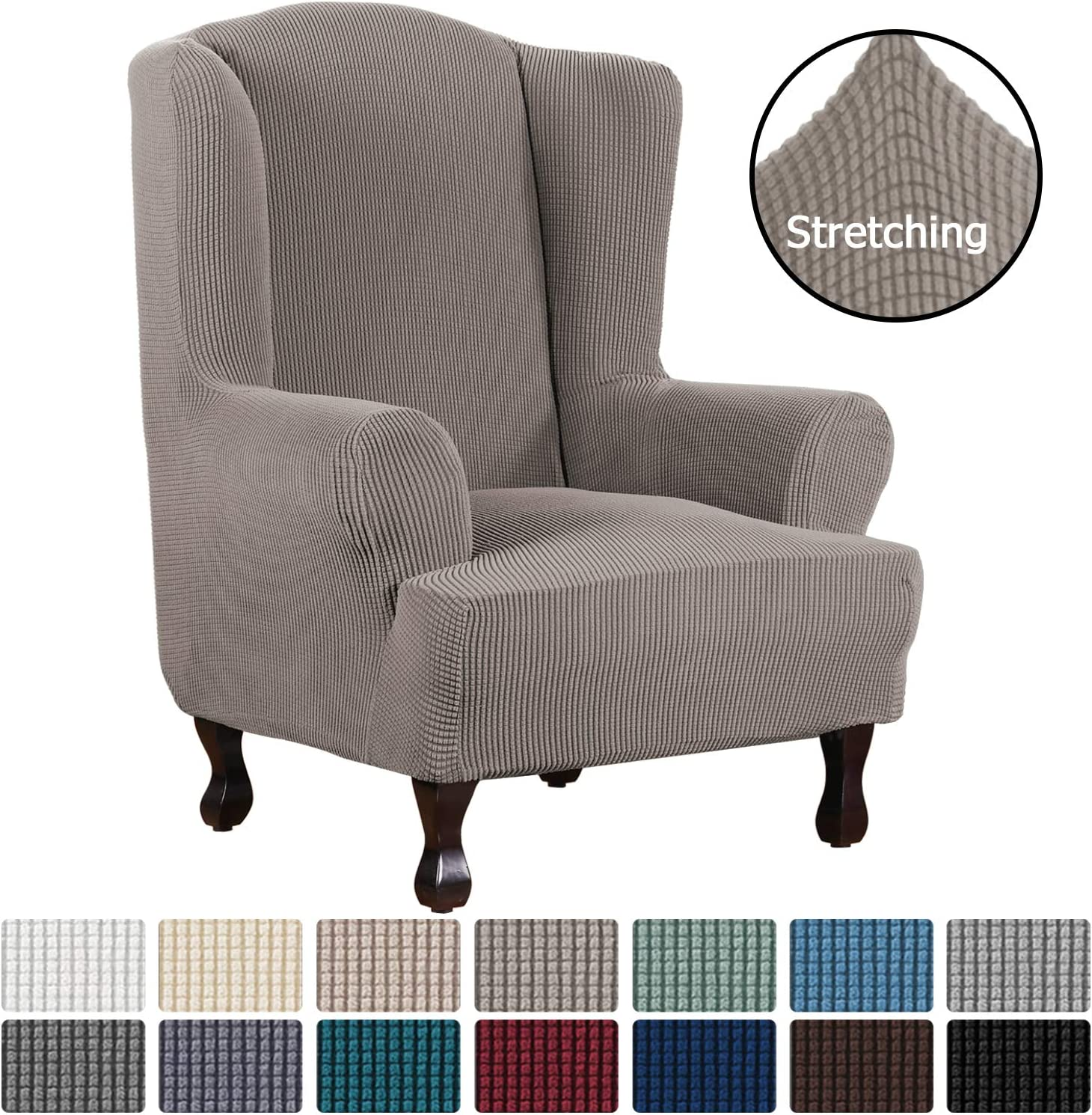 H.VERSAILTEX 1 Piece Super Stretch Stylish Furniture Cover/Wingback Chair Cover Slipcover Spandex Jacquard Checked Pattern, Super Soft Slipcover Machine Washable/Skid Resistance (Wing Chair, Taupe)