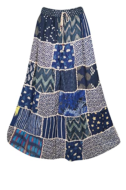 e27156b9f0 Women Maxi Skirt Patchwork Blue Rayon Vintage Flare Skirt S/M at ...