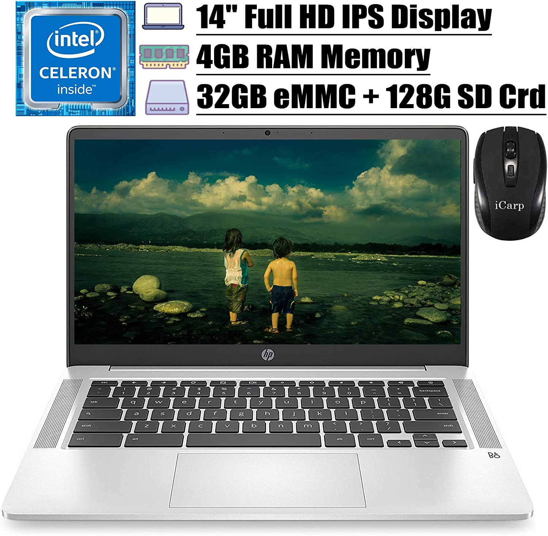"2020 Flagship HP Chromebook14 Laptop Computer 14""FHD IPS Display Intel Celeron N4000 4GB RAM 32GB eMMC 128G SD Card Intel UHD Graphics 600 B&O Backlit Chrome OS (Silver)+ iCarp Wireless Mouse"