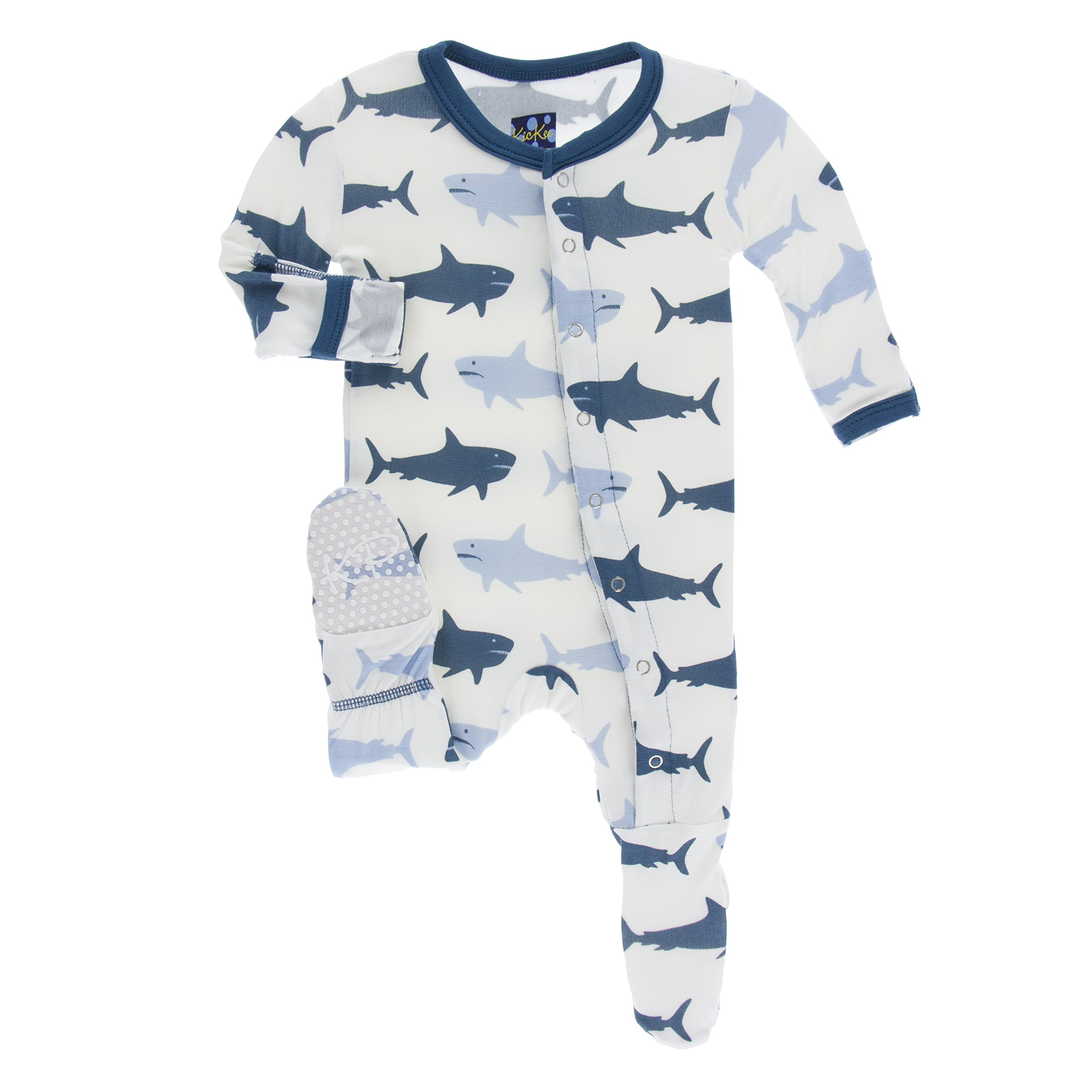 Kickee Pants Print Footie with Snaps in Natural Megalodon, 3T