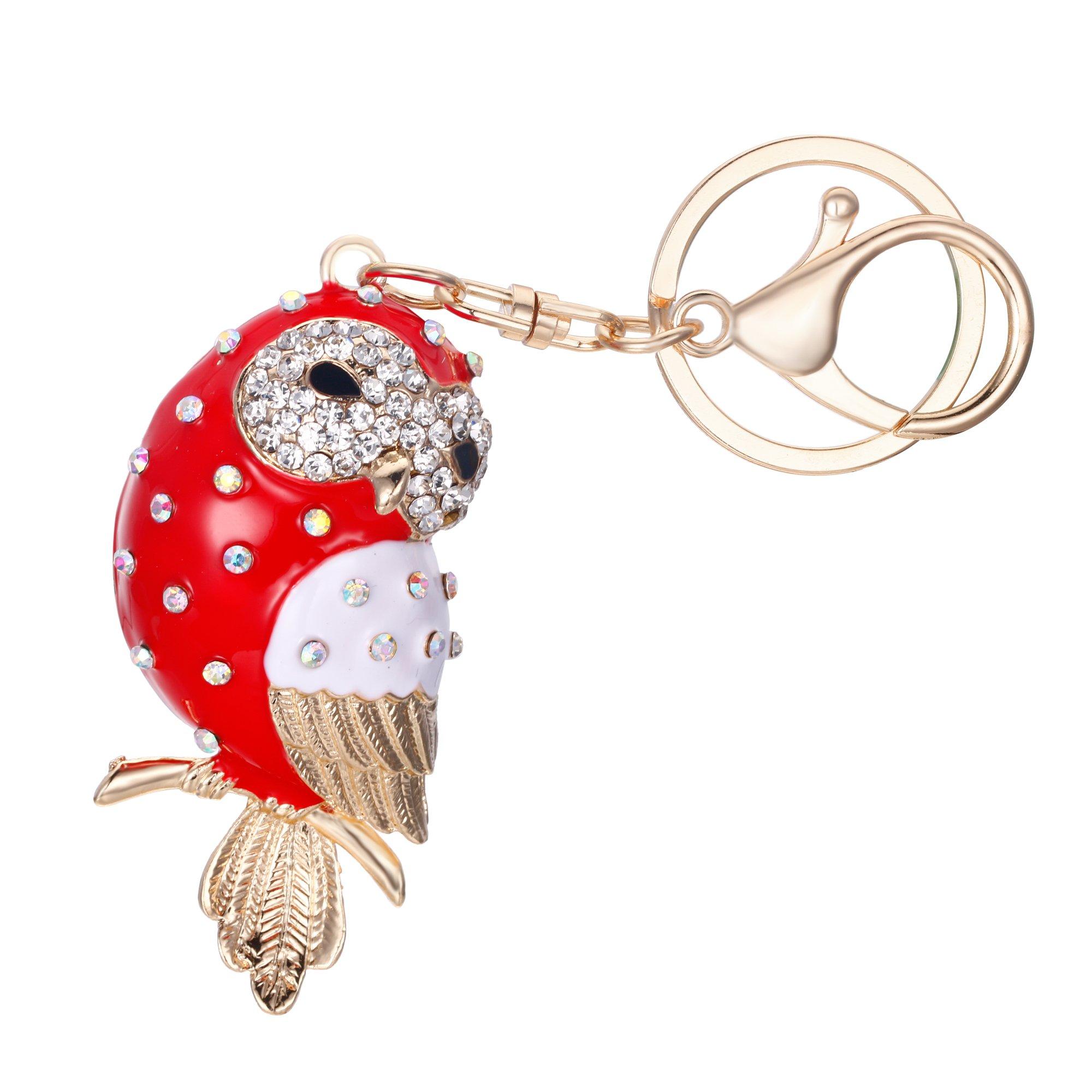 EVER FAITH Women's Austrian Crystal Red Enamel Adorable Owl Bird Keychain Bag Accessory Gold-Tone