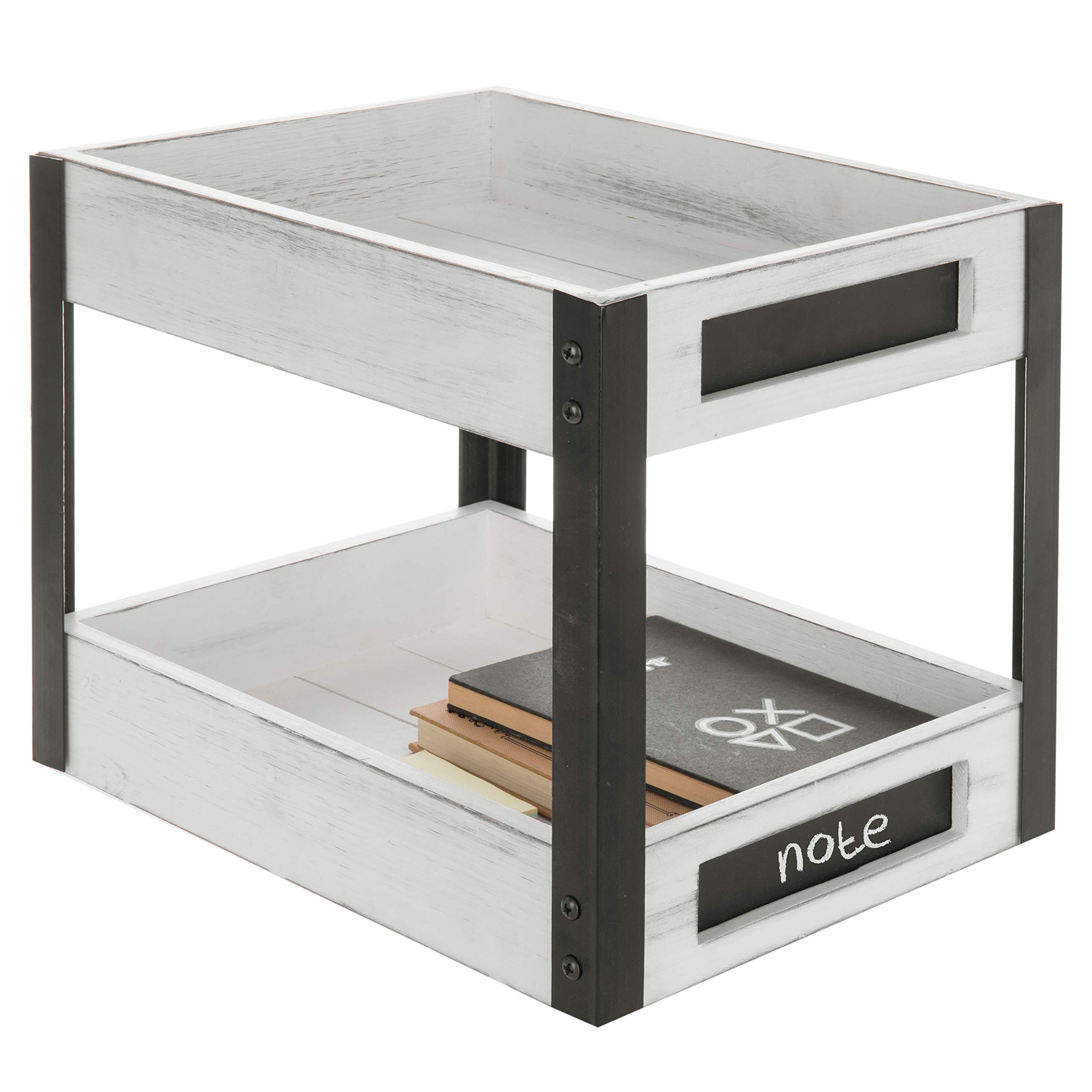 MyGift 2-Tier Vintage White Wooden Document Tray Rack with Chalkboard Labels by MyGift