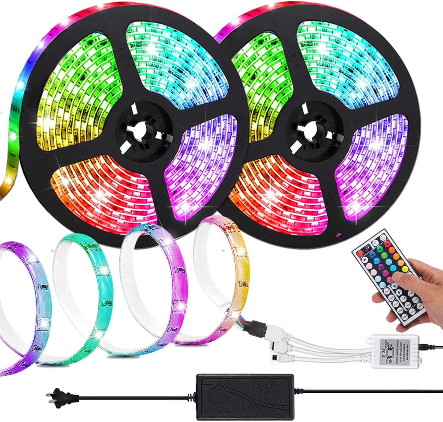 LED Strip Lights,Attuosun 32.8ft/10M RGB Color Changing Self-Adhesive Led Light Strip,Waterproof IP65 5050 300Leds Flexible Rope Light Kit with 44Key IR Remote Controller and 12V Power Supply for Home