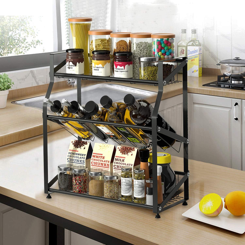 3 Tier Metal Spice Rack Sauce Jars Stand Oil Bottle Storage Shelf Kitchen Holder